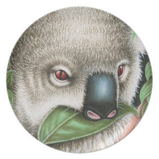Koala Munching a Leaf Plate