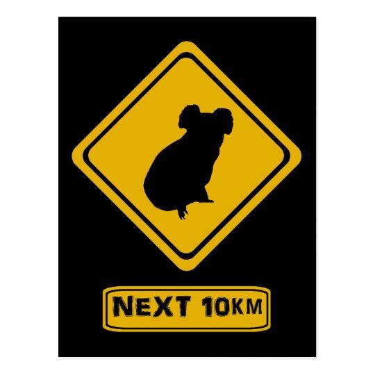 koala road sign postcard