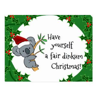 Koala Santa - Fair Dinkum Christma Post Cards