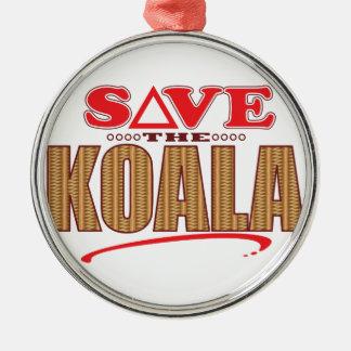 Koala Save Silver-Colored Round Decoration