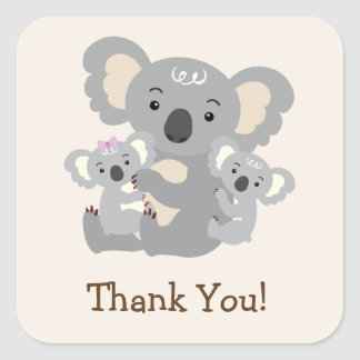 Koala Twins Baby Shower Thank You Square Sticker