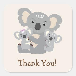 Koala Twins Baby Shower Thank You Square Sticker