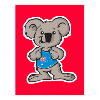 koala wearing Australia shirt Post Card