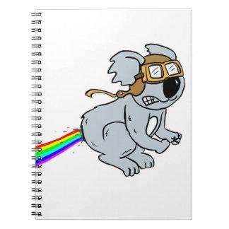 Koala with rainbow notebook