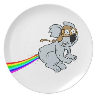 Koala with rainbow plate