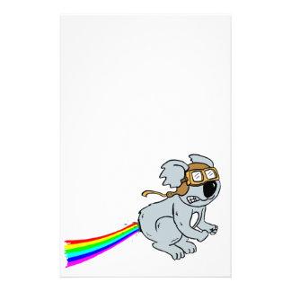 Koala with rainbow stationery