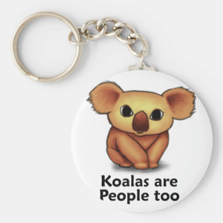 Koalas are People too Basic Round Button Key Ring
