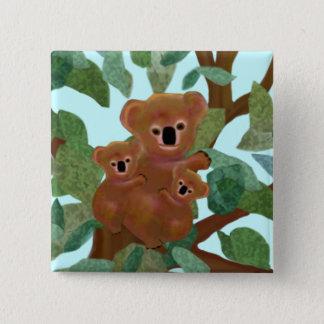 Koalas in the Eucalyptus 15 Cm Square Badge