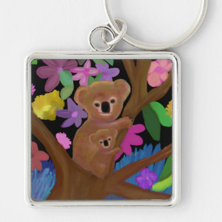 Koalas in the Outback Silver-Colored Square Key Ring