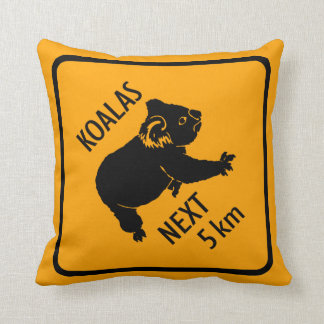 Koalas Warning Sign Throw Pillow