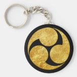 Kobayakawa Mon Japanese clan gold on black Keychains
