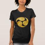 Kobayakawa Mon Japanese clan gold on black Shirt