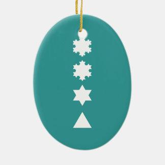 Koch Snowflakes Ceramic Oval Decoration