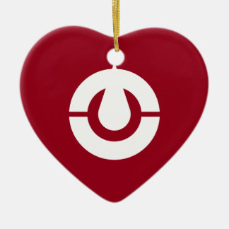 Kochi Flag Heart Ceramic Heart Decoration