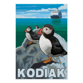Kodiak, AlaskaPuffins and Alaskan Cruise Ship Poster