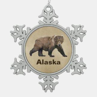 Kodiak Bear Snowflake Pewter Christmas Ornament