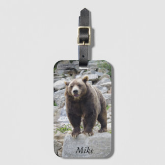 Kodiak Bear Standing on a Rock Luggage Tag