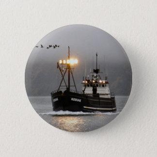 Kodiak, Crab Boat in Dutch Harbor, Alaska 6 Cm Round Badge