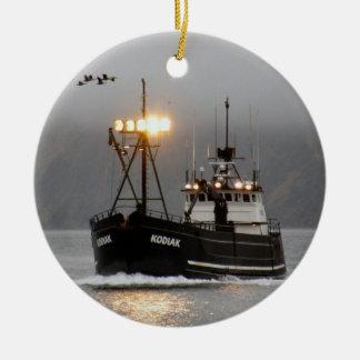 Kodiak, Crab Boat in Dutch Harbor, Alaska Round Ceramic Decoration
