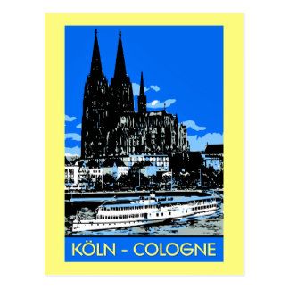 Koeln Cologne retro vintage style travel ad Postcard
