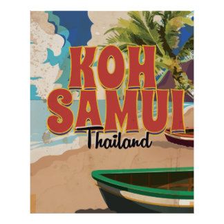 Koh Samui, Thailand Vintage Travel Poster. Poster