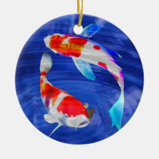 Kohaku Duo in Deep Blue Pond Round Ceramic Decoration