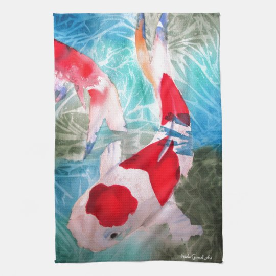 Kohaku Koi 2 Japanese watercolor fish art Tea