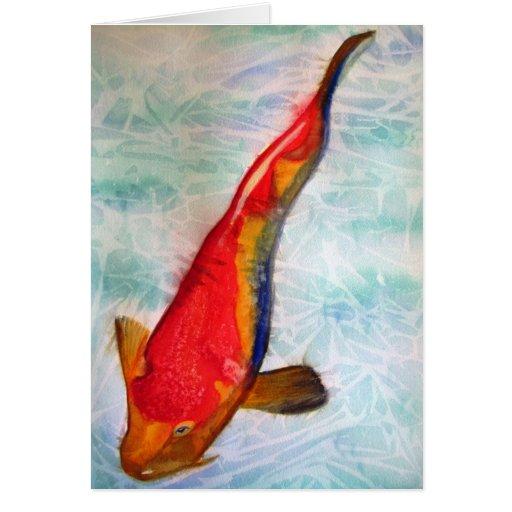 Kohaku Koi Japanese fish watercolor art Greeting Cards