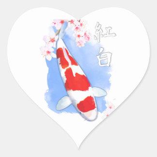 Kohaku Koi Heart Sticker