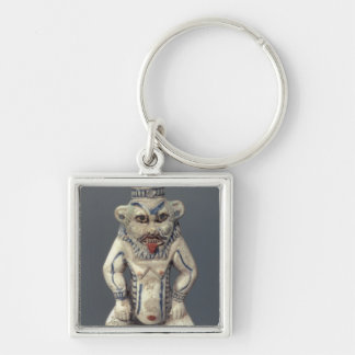 Kohl Pot, depicting the Egyptian household god Bes Silver-Colored Square Key Ring