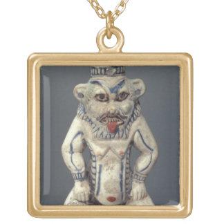 Kohl Pot, depicting the Egyptian household god Bes Square Pendant Necklace