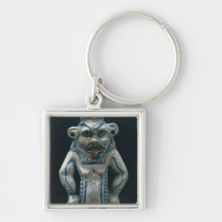 Kohl pot in the form of the god Bes, New Kingdom, Silver-Colored Square Key Ring
