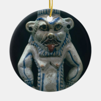 Kohl pot in the form of the god Bes, New Kingdom, Round Ceramic Decoration