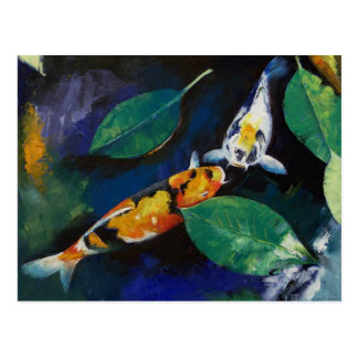 Koi and Banyan Leaves Postcard