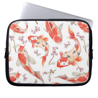 Koi and Cherry Blossom Pattern Laptop Computer Sleeve