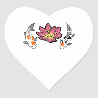 KOI AND LOTUS APPLIQUE HEART STICKERS