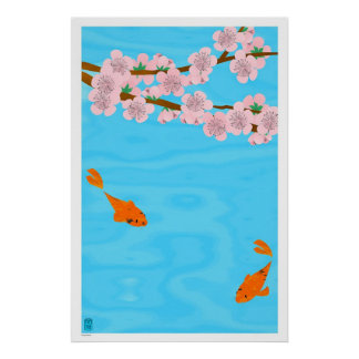 Koi and Sakura Poster