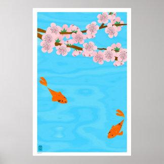 Koi and Sakura Print