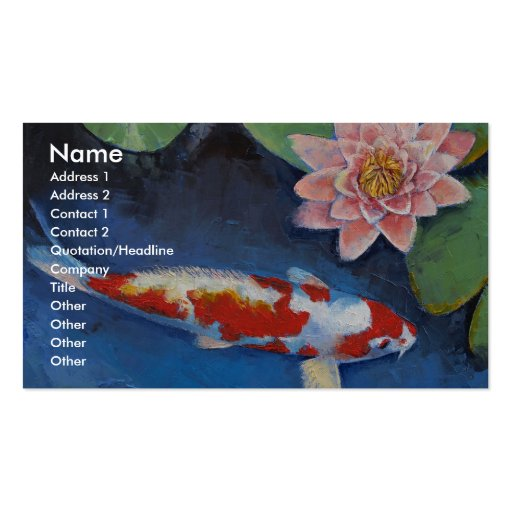Koi and Water Lily Business Cards