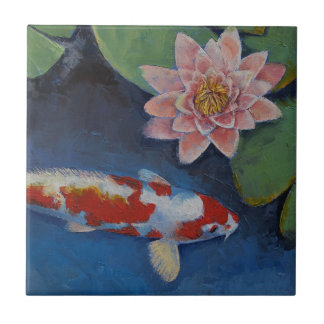 Koi and Water Lily Small Square Tile