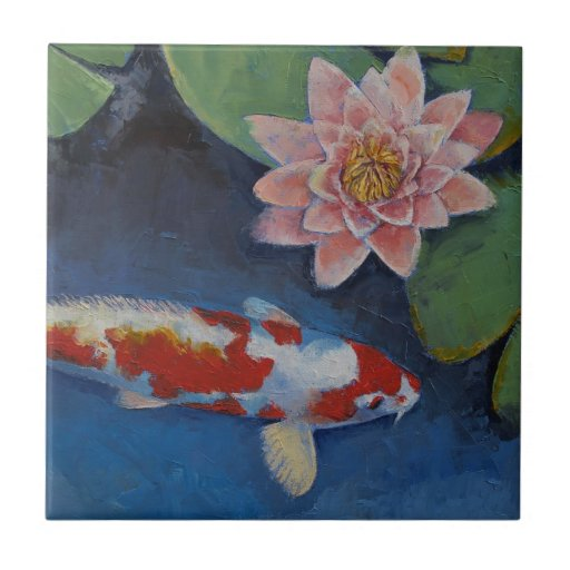 Koi and Water Lily Ceramic Tiles