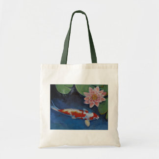Koi and Water Lily Tote Bag