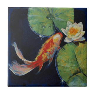 Koi and White Lily Tile