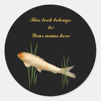 Koi Bookplate Round Sticker