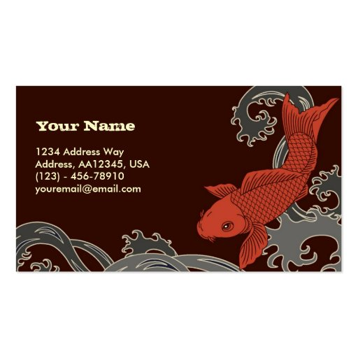 Koi (Brown Background) Pack Of Standard Business Cards
