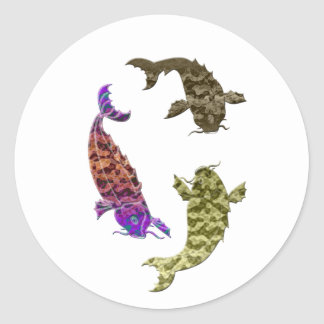 Koi carp digital art design classic round sticker