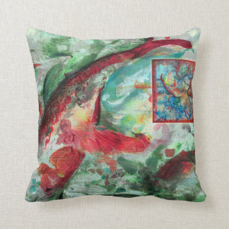 Koi Carp Fish Painting by Alexandra Cook Throw Cushions