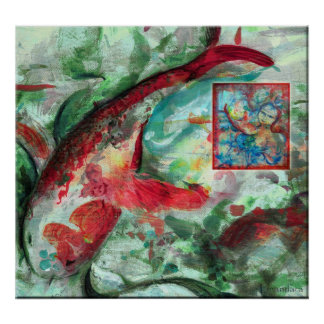Koi Carp Fish Painting Poster