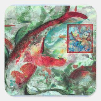 Koi Carp Fish Painting Square Sticker
