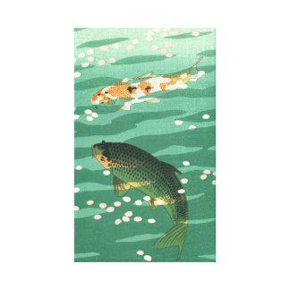Koi Carp Fish Pond Vintage Classic Ukiyo-e Art Canvas Print